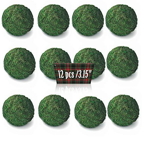 Qingbei Rina Natural Green Moss Ball (3.15 inches,Set of 12) Handmade Tabletop Decorative Bowl Filler Orbs