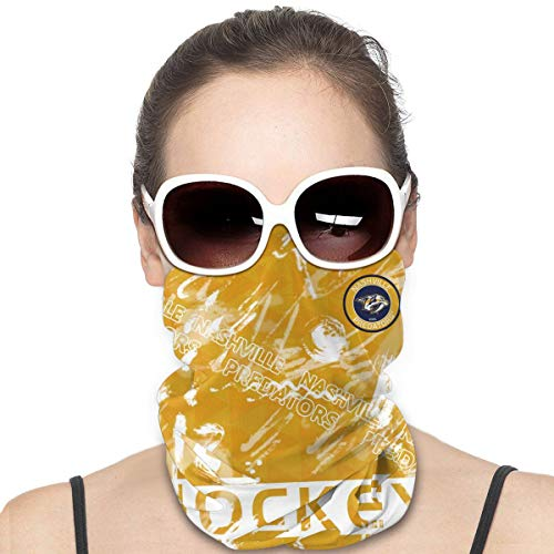 UV Resistant Face Mask Scarf Bandana, Seamless Dust Proof Neck Gaiter for Fishing Outdoors, Unisex Adult Nashville Predators Motorcycle Headwear