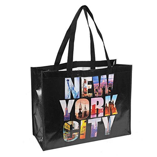 NYC Photo Reusable Shopping Tote Bag - New York City (Black) by Universal Souvenir