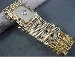 ANTIQUE LARGE .30CT DIAMOND 14KT YELLOW GOLD PERLE BRAND BRACELET WATCH #24924