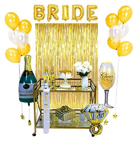 Bachelorette Premium Gold Party Dekorationen - Brautduschset - Verlobungsfeier - Hochwertiges Brautpaar zum Bachelorette - Braut- und Champagnerballons - Partyzubehör - Hintergrund Foto Requisiten