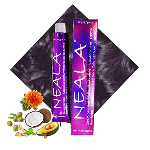 01 Neala- Tintes Profesionales SIN AMONIACO y libre de PPD y MEA Enriquecido con Omega9, extractos naturales y vitaminas. Gran brillo y cobertura. - 1 x 100ml. (01- NEGRO)