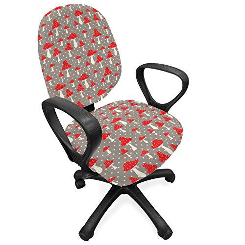 ABAKUHAUS Paddestoel Hoes voor Bureaustoel, Amanita Polka Dot, Decoratieve en Beschermende Hoes van Stretchstof, Taupe Cream Red