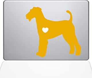 "The Decal Guru I Love My Airedale Terrier Decal Vinyl Sticker, 13"" MacBook Pro (2015 & Older Models), Yellow (1471-MAC-13P..."