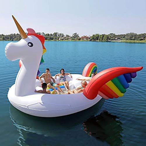Homejuan Barco Flotante del Flotador De 6 Persona Unicornio Enorme Piscina Flotador Inflable Gigante Isla Salón para Fiesta En La Piscina White-490 * 320cm