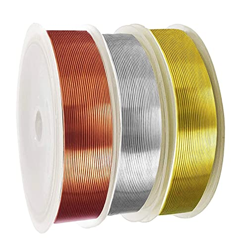 3 Pack Jewelry Wire for Jewelry Making 18 Gauge,Owlbbabies Craft Wire Tarnish Resistant Copper Wire Jewelry Beading Wire for Jewelry Making Supplies and Craft