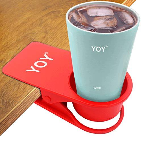 YOY Drinking Home Office Table Desk Side Huge Clip Water Drink Beverage Soda Coffee Mug Holder Cup Saucer Design, Red