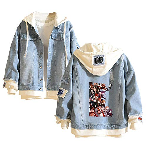Fgfkljkrelw Danganronpa Pullover Jeansjacke Studenten Personality Trendy 2-In-1 Kapuzenjacke Herren-Oberbekleidung mit Print Coat Unisex (Color : Blue10, Size : Height-180cm (Tag XL))