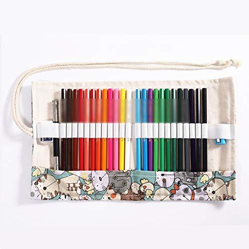 Lapices Colores Yuan Ou Juego de lápices de colores 24/36/48/72 piezas Pintura Dibujo Acuarela Lápiz de colores y estuche para bolígrafos para niños Suministros de arte profesional 24 colores