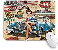 NIESIKKLAマウスパッド ルート66アメリカのビンテージポスタースタイルのホットガール車のテーマ ゲーミング オフィス最適 高級感 おしゃれ 防水 耐久性が良い 滑り止めゴム底 ゲーミングなど適用 用ノートブックコンピュータマウスマット