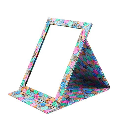 Folding Travel Vanity Mirror with Desktop Standing Makeup Mirror for Cosmetics Personal Beauty Portable Mirrors (Colourful)