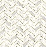 NextWall Chevron Faux Marble Tile Peel and Stick Wallpaper (Metallic Gold & Pearl Gray)