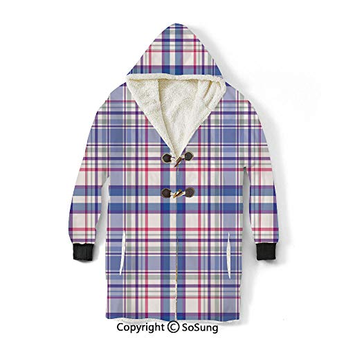 Checkered Blanket Sweatshirt,Country Inspired Old Fashioned Pattern Picnic Theme Light Colors Wearable Sherpa Hoodie,Warm,Soft,Cozy,XL,for Adults Men Women Teens Friends,Violet Blue White Pink