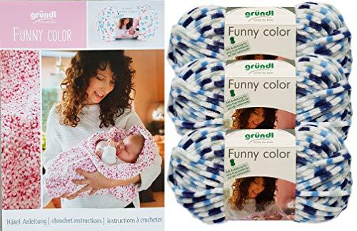 Gründl Funny Color 3x100 Gramm Softgarn kuschelliges Garn aus 100% Polyester (3er Set 03 Blau Weiss) + Häkelanleitungsheft für eine Kuscheldecke + 1 Anleitung Funny Bunny