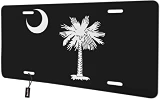 Beabes South Carolina State Flag Front License Plate Cover,Palmetto Tree and Moon Abstract Art Black White Decorative License Plates for Car,Novelty Auto Car Tag Vanity Plates for Men Women 6x12 Inch