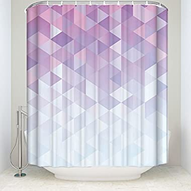 Extra Long Fabric Bath Shower Curtains 72  x 96  Purple Gradient Geometric Digital Texture With Mosaic Triangle Pattern Mildew-resistant Bathroom Decor Sets with Hooks