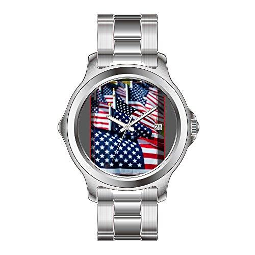 FDC–Navidad Regalo Relojes Hombre Fashion Fecha Acero Inoxidable Reloj de Pulsera de...