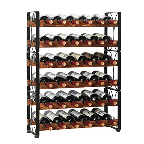 X-cosrack Stackable Rustic 36 Bottle Wine Rack, Freestanding Floor Wine Holder Stand Can Used Separate or Stacked 6 Tier Wobble-Free Wine Display Storage Shelf for Kitchen 24.5''L x 8.6''W x 33.4''H