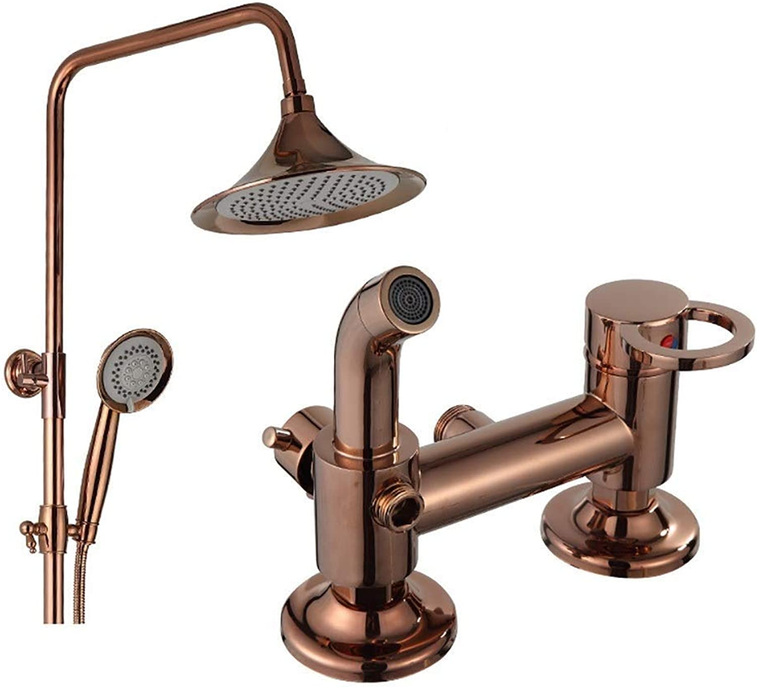 1200x800mm Shower Kit Retro Copper Shower Set, Wall-mounted shower poles extendable redating Hand Shower Bathroom Cold hot Water Tap (color   B)