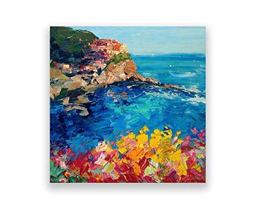 Manarola Cinque Terre Prints Seascape Canvas Art of my Original Oil Painting Agostino Veroni Italy Sea Artwork for Modern Home Decor Kitchen Living-room Unique Gifts for Her Him Christmas Present