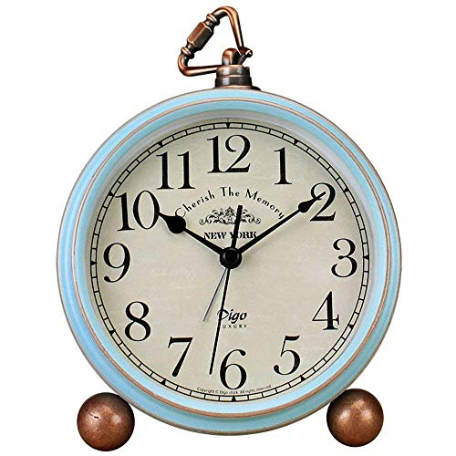 Saytay - Reloj clásico retro, metal azul, estilo europeo, estilo vintage, silencioso, reloj despertador de cuarzo, funciona con pilas, lente de cristal HD, fácil de leer
