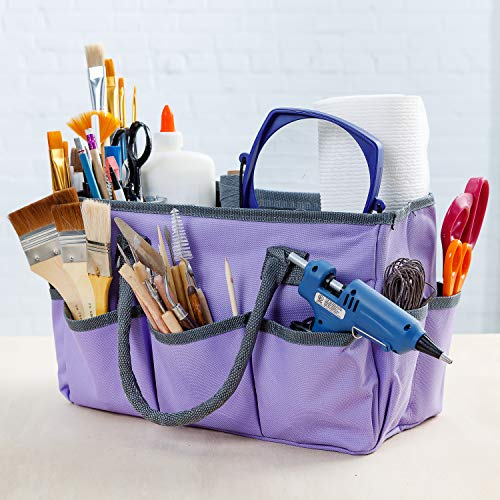 Large Craft Storage Tote Bag with 10 Pockets   Scrapbooking, Sewing, Art Supplies, Organizer Caddy with Handles   Perfect Carrying Case for Travel, School, Medical or Office Supplies   Purple