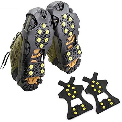 TWWSA Dentado Robusto 1 par 10 Studs Anti-Skid Hielo Gripper Spike Invierno Escalada Antideslizante Snow Picos Publicaciones Pendientes sobre Zapatos Cubiertas Crampon Super elástico (Shoe Size : S)