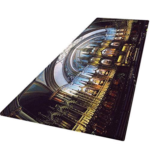 ZEELIY Antirutschmatte Teppichunterlage Teppichstopper Rutschschutz für Teppich Teppich Antirutsch Rutsch Stop Notre Dame de Paris Pattern Square Bereichswolldecke Fleece Kitchen Bathroo 60X180CM