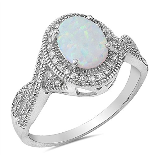 Clear CZ White Simulated Opal Vintage Oval Ring .925 Sterling Silver Band Size 8