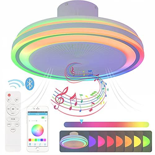 RGB Regulable Ventilador de Techo con Lampara Mando a Distancia y App LED 72W Plafon Ventilador Techo con Luz Bluetooth Música Inspire Lampara Techo Dormitorio Temporizador Silencioso Iluminación