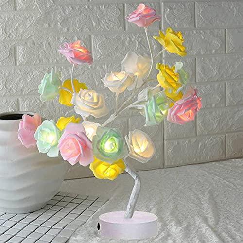 Luz de árbol de alambre de cobre para mesa de noche, luces LED de lámpara de mesa con diseño de rosas, luces de noche USB, decoración del hogar, fiestas, Navidad, boda, dormitorio, decoración de noche