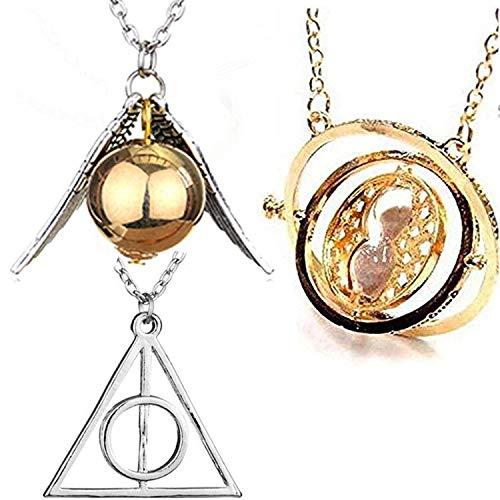 U&X Wizard Herry Potter zeitumkehrer Sand Sanduhr Halskette Goldener schnatz Heiligtümer des Todes Kostüm schmuck Kette,3 Stück