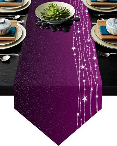 Camino de mesa de arpillera, diseño de estrellas brillantes en la noche sobre fondo morado, 33 x 177 cm
