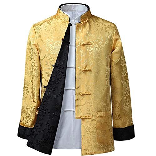 DAZISEN Die Kampfsport Tai Chi Jacke der Herren/Damen - Mode Beide Seiten Mantel Oberteile Langarm Tang-Anzug, 2XL/Stil 06 - Männer