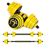 66lbs Adjustable Dumbbell Barbell, Free Weights 2-in-1 Dumbbell Barbell Set, Non-Slip Hand Dumbbell for Home, Gym, Office