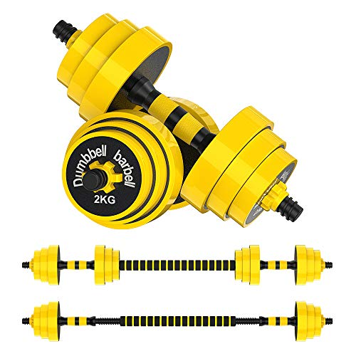 66lbs Adjustable Dumbbell Barbell, Free Weights 2-in-1...