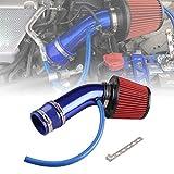 Ruien 76mm口径 アルミ製エアインテークパイプ エアクリーナー付属 吸気効率UP コンパクト 自動車用 汎用 ブルー