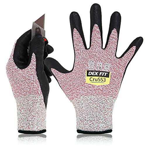 DEX FIT Level 5 Cut Schnittfeste Handschuhe Cru553, 3D Komfort Stretch Fit, Power Grip, Strapazierfähiger Schaumnitril, Smart Touch, Maschinenwaschbar, Dünn & Leicht, Rot 7 (S) 1 Paar