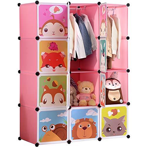 BRIAN & DANY Kinderregal Kinder Kleiderschrank Stufenregal Bücherregal mit Türen & 2 Aufhängern, tiefere Fächer als normal (45 cm vs. 35 cm), 110 x 47 x 147 cm Rosa