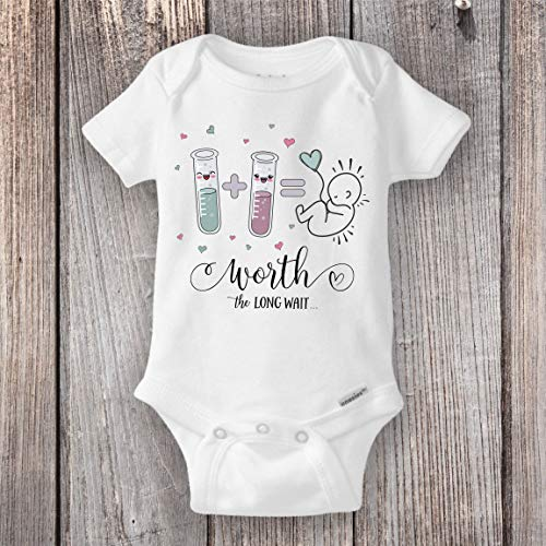 IVF Baby Shirt Worth the LONG WAIT | Love and Science IVF Baby Pregnancy Announcement Reveal Fertility Miracle Baby