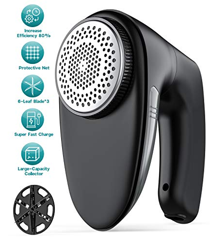 Sweater Fabric Shaver - Triple Protection & 60 Minutes Working, FETY Rechargeable Electric Lint Fuzz Pills Remover, Clothes Defuzzer with 2 Replaceable 6-Leaf Blades, Trimmer Effectively Faster by 60%