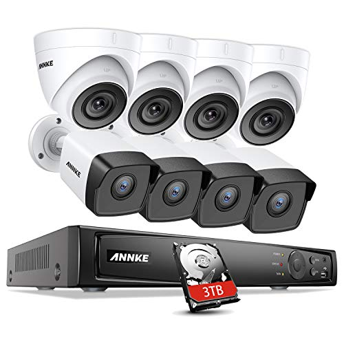 Best Price ANNKE 4K 8CH IP Security NVR System, 4 Bullet and 4 Turret Outdoor 5MP POE Cameras, EXIR ...