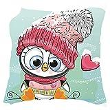 AMhomely - Juego de funda de almohada para sofá con diseño de animales de dibujos animados, 18 x 18 en Navidad, decoración navideña, peluche corto, L, 45cm x 45cm/18' x 18'