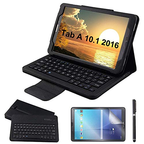 Custodia Galaxy Tab A 10.1 Bluetooth Tastiera con screen protector & stylus, REAL-EAGLE Pelle PU Custodia con Wireless Staccabile Keyboard per Samsung Galaxy Tab A6 10.1 2016 SM-T580 T585, Black