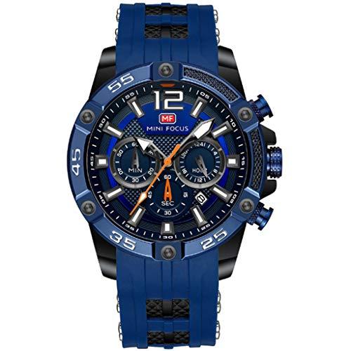Herren Uhren, Manner 30M Wasserdicht Sport Chronograph Große Designer Armbanduhr, Mode Leuchtende Datum Modisch Uhr, Silikon Armband,B