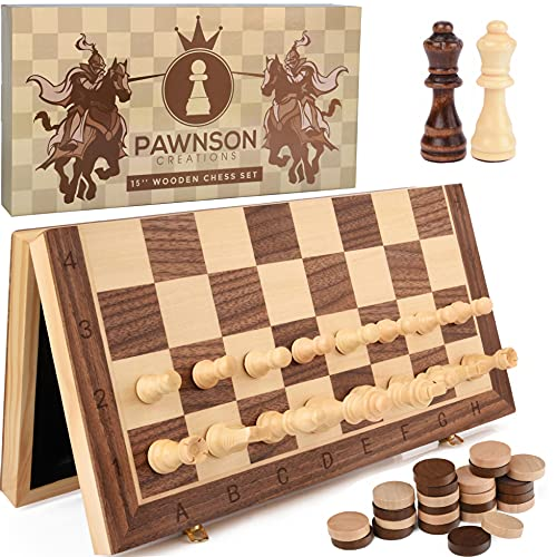 """Magnetic Wooden Chess Checkers Set for Kids and Adults – 15""""..."""
