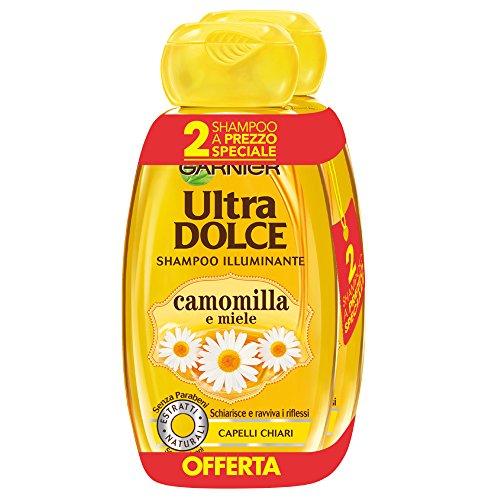 Garnier Ultra Dolce Shampoo van camomilla en Miele voor chiari-haar, zonder parabenen extract, dubbelpak van 3 (3 x 2 x 300 ml)