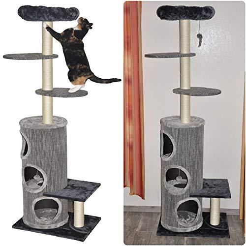 nanook Nicolo Wandkratzbaum zum Klettern, Katzen-Kratzsäule, Kratzbaum mit Sitzplatten und Liegeplätzen mit gemütlichen Kissen, 202 x 65 x 45 cm