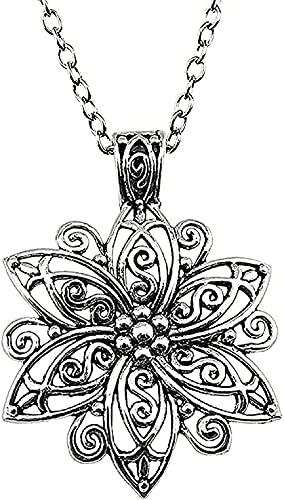 Aluyouqi Co.,ltd Collar Mujer Collar Joyas Collar para Mujer Color Plata Antiguo 66x47mm Collar con Colgante de Flor Grande Regalo Femenino Moda