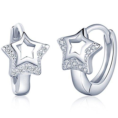 Infinito U- Pendientes Aros de Plata 925 Pendientes Estrellas con Diamante Idea Regalo para Mujer Chica